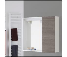 Specchio bagno con anta 70 cm rovere scuro - Feridras