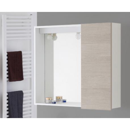 Specchio bagno con anta 70 cm rovere chiaro feridras for Specchio bagno brico