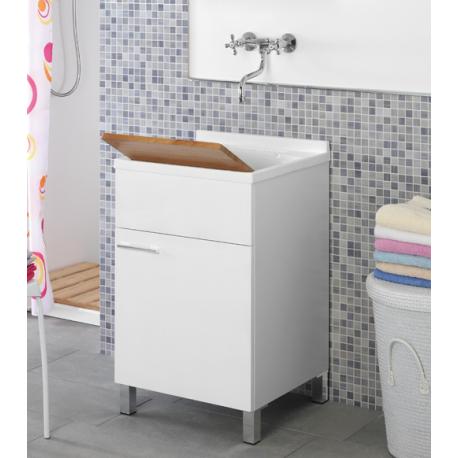 Mobile lavatoio 50x50 lavabo bianco legno feridras - Mobile bagno con lavatoio ...