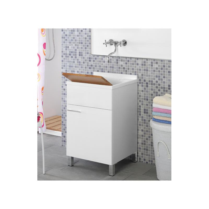 Mobile lavatoio 50x50 lavabo bianco legno feridras loading zoom