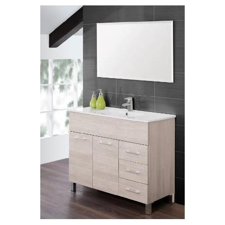 Mobile bagno 100 cm moderno lavabo e specchio legno bianco feridras brico casa - Specchio bagno legno ...