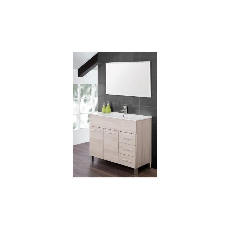 Mobile bagno 100 cm moderno lavabo e specchio legno bianco for Mobile bagno moderno bianco