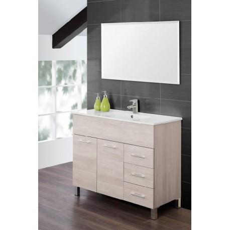 Mobile Bagno 100 Cm Moderno Lavabo E Specchio Legno Bianco