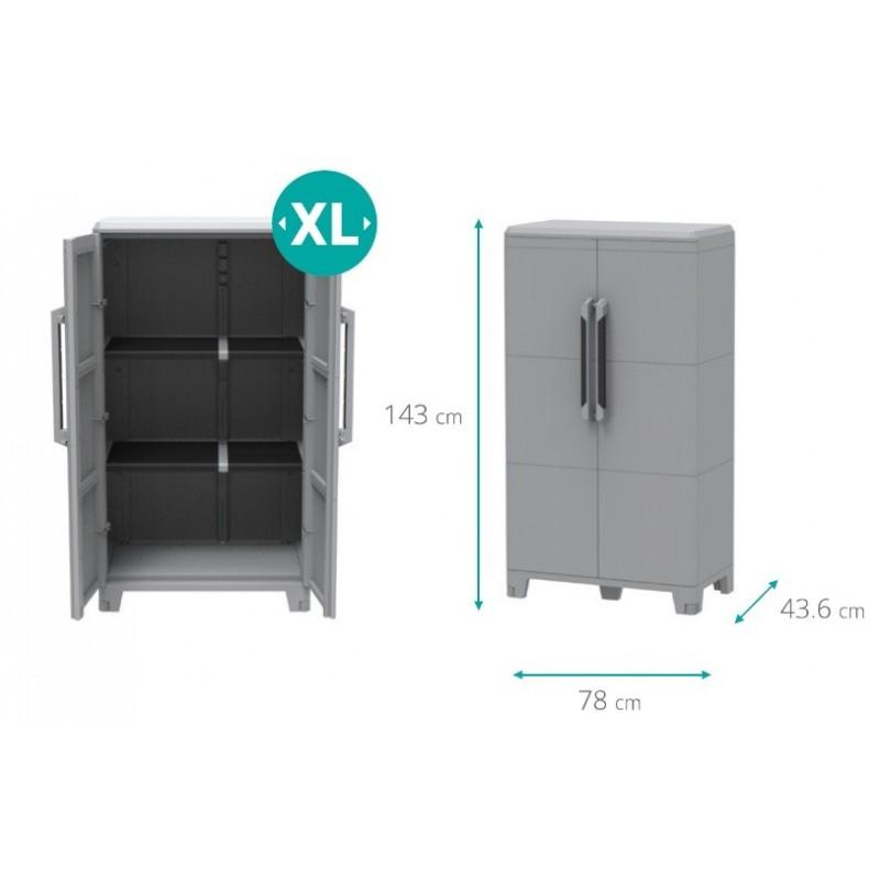 Armadio in resina da esterno modulare 2 ante 78x43x143h brico casa - Armadi per esterno in resina ...