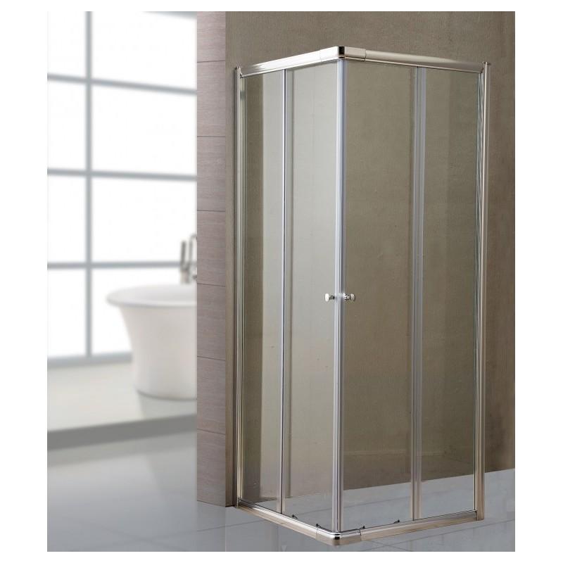 Box doccia bagno in cristallo trasparente 70x70 cm brico for Box doccia 70 x 70 leroy merlin