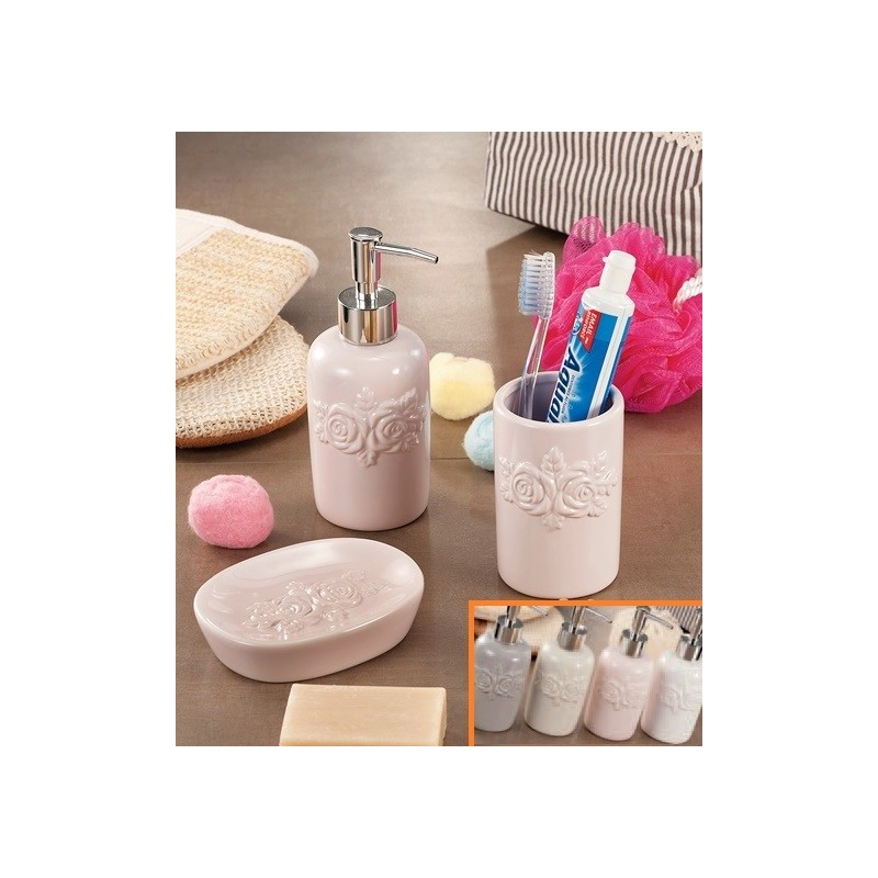 Portasapone Bagno In Ceramica.Set Da Bagno 3 Pezzi In Ceramica Portaspazzolino Dispenser E