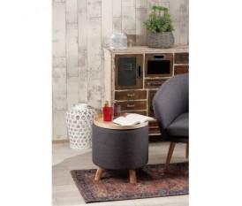 Pouf sgabello in tessuto grigio con vassoio piedi in legno