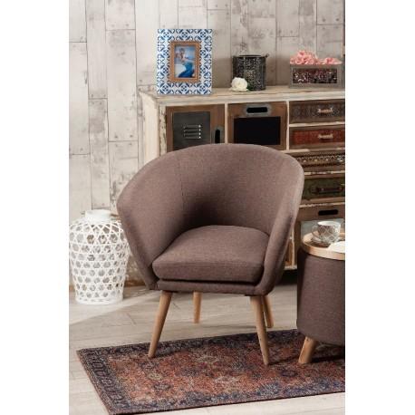 poltrona sedia in tessuto e legno marrone 66x61x72 cm
