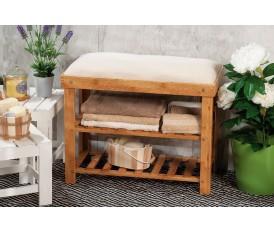 Panca da bagno in legno naturale con venature cuscino morbido porta asciugamani