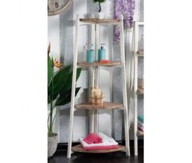 Mobile con mensole ad angolo in legno grezzo per bagno
