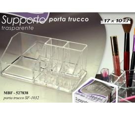 Porta trucco trasparente pennelli e rossetti  17X10X7 CM