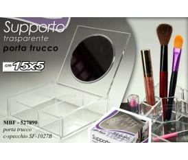 Porta trucco con specchio trasparente 15X5 CM