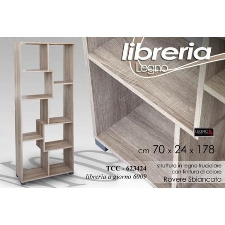 MOBILE SCAFFALE LIBRERIA A GIORNO ROVERE SBIANCATO 70x24x178 CM ...