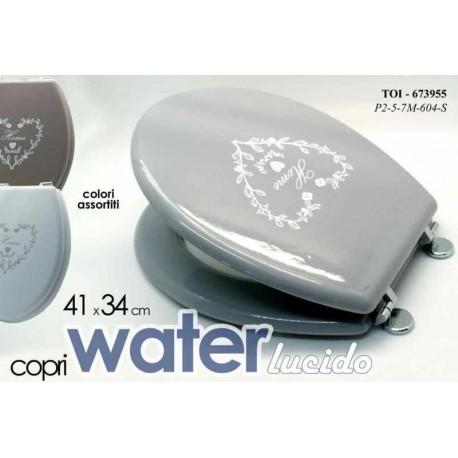 Tavoletta bagno web copriwater shabby grigio con cuore