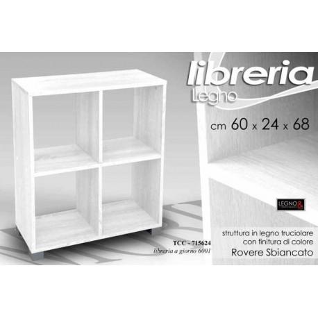 Mobile scaffale libreria in legno a cubo bianco 60x24x68 for Scaffale legno bianco