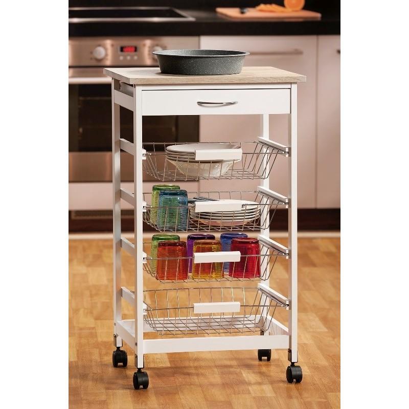 Carrello cucina bianco legno 50 cm cassetti ruote for Cucina legno bianco