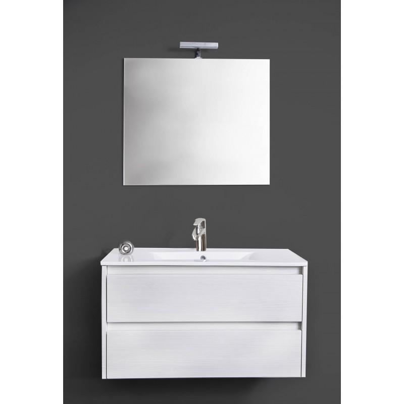 Composizione bagno moderno bianco sospeso luce led- Federica - Brico ...