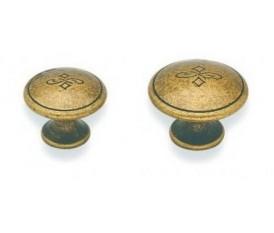 Pomelli antichizzati in zama decoro stile fiorentino - 25 mm