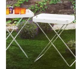 Vassoio tavolinetto richiudibile da giardino porta vivande bianco