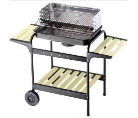 Barbecue in acciaio doppia griglia con ripiani in legno