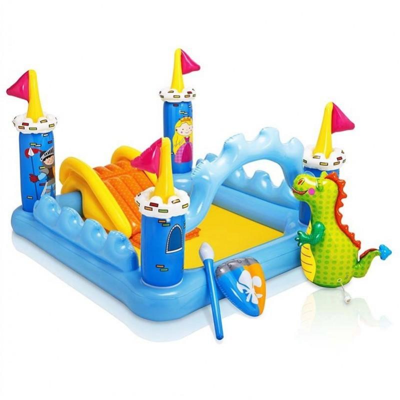 Piscina per bambini parco giochi gonfiabile a forma di castello intex brico casa - Casa gonfiabile per bambini ...