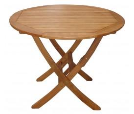 Tavolo tondo 90 cm in legno pieghevole da esterno noce