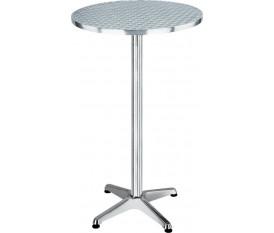 Tavolino tondo da bar in acciaio inox lucido alto 110 cm