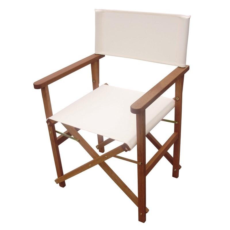Sedia da regista pieghevole in tessuto bianco e legno