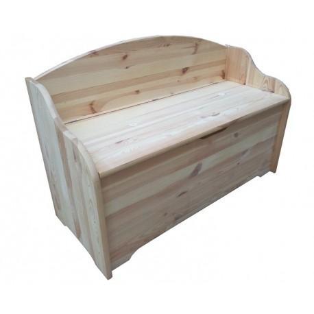 cassapanca con schienale e seduta in legno naturale