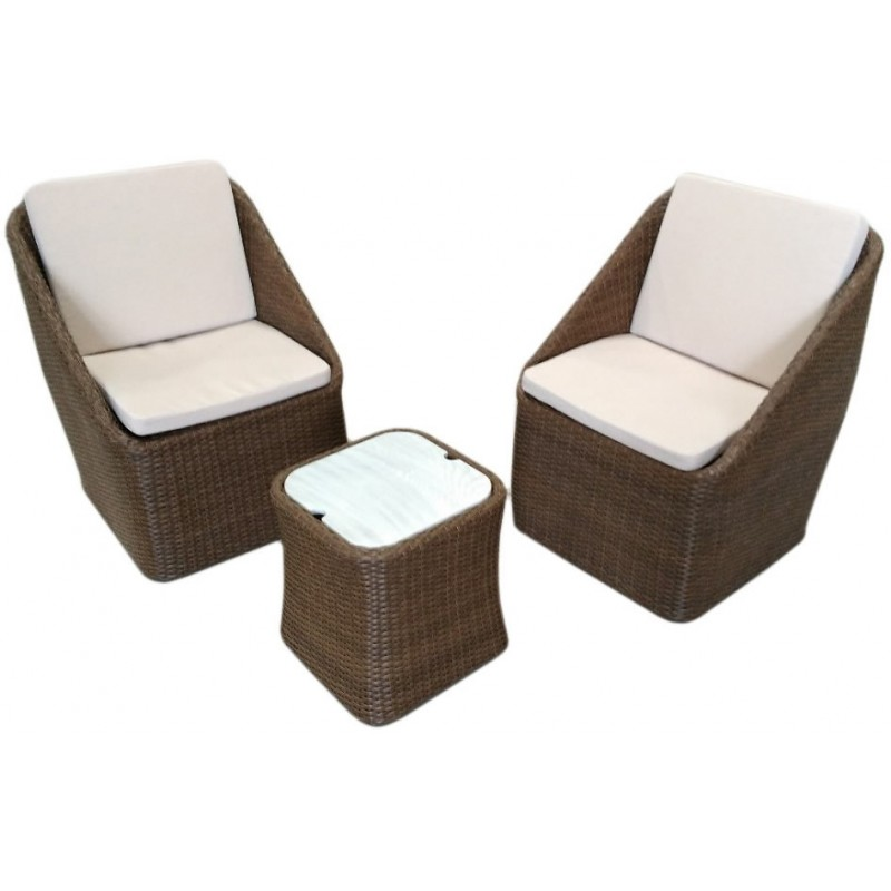 Lilla poltrone salottino in rattan sintetico grigio for Poltrone in rattan