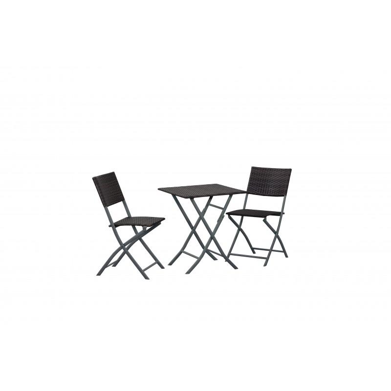 Tavolo pieghevole con 2 sedie in polirattan moka brico casa - Tavolo pieghevole con sedie ...