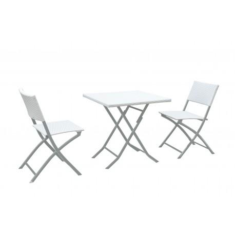 Tavolo Pieghevole Con 2 Sedie In Polirattan Bianco Brico Casa