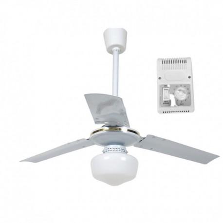 Ventilatore A Soffitto Parete Con Lampada 3 Pale E Timer 92 Cm