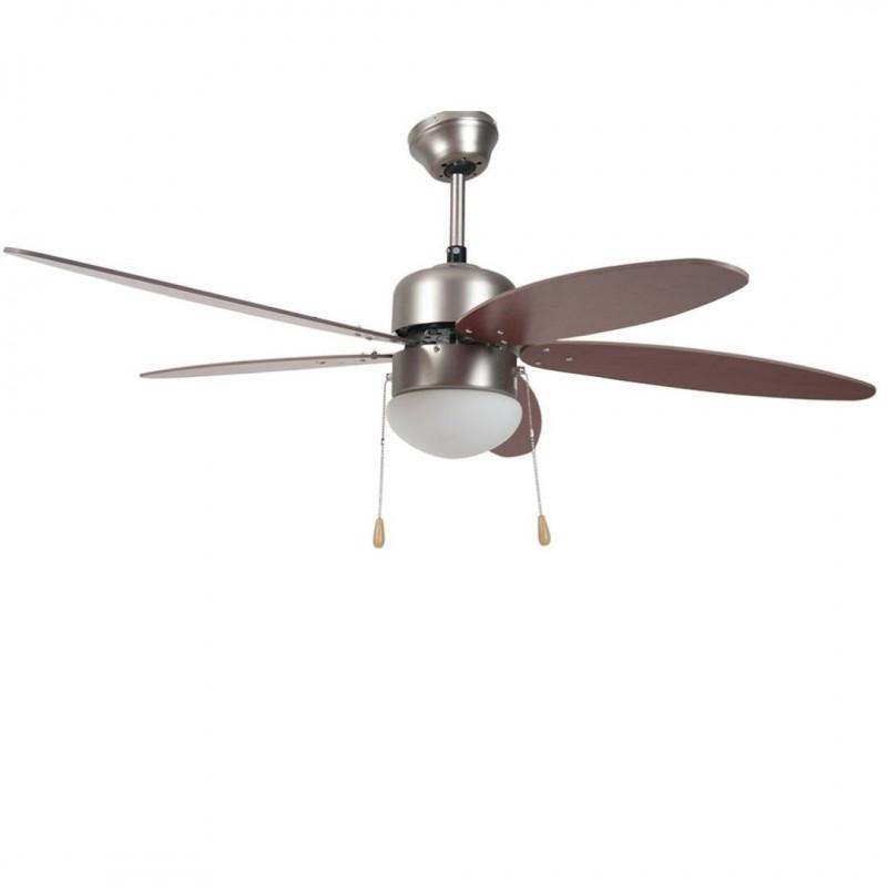 Ventilatore Soffitto Parete 5 Pale Noce Con Lampada 130 Cm Brico Casa