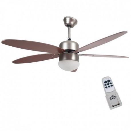 Lampadario A Pale Con Telecomando.Ventilatore Soffitto Parete 5 Pale Noce Con Lampada 130 Cm Telecomando Brico Casa
