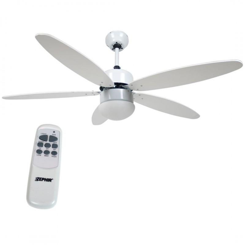 ventilatore soffitto parete 5 pale bianco con lampada 130