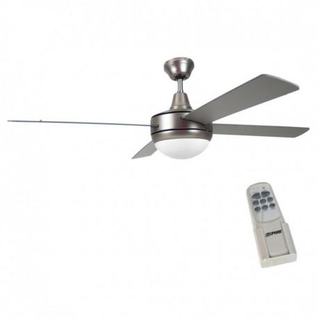 Ventilatore soffitto parete 4 pale grigio con lampada 130 for Ventilatori a soffitto brico