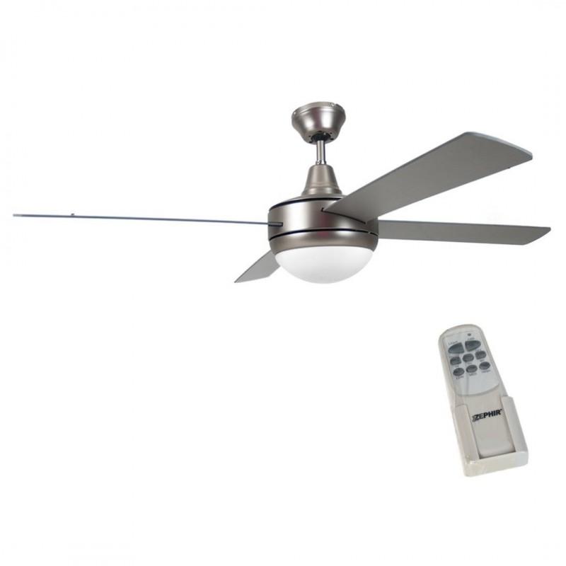 Ventilatore soffitto parete 4 pale grigio con lampada 130 - Ventilatore da parete ...