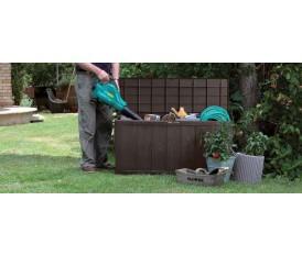 Baule da giardino in resina effetto naturale marrone con ruote  - Sherwood Keter