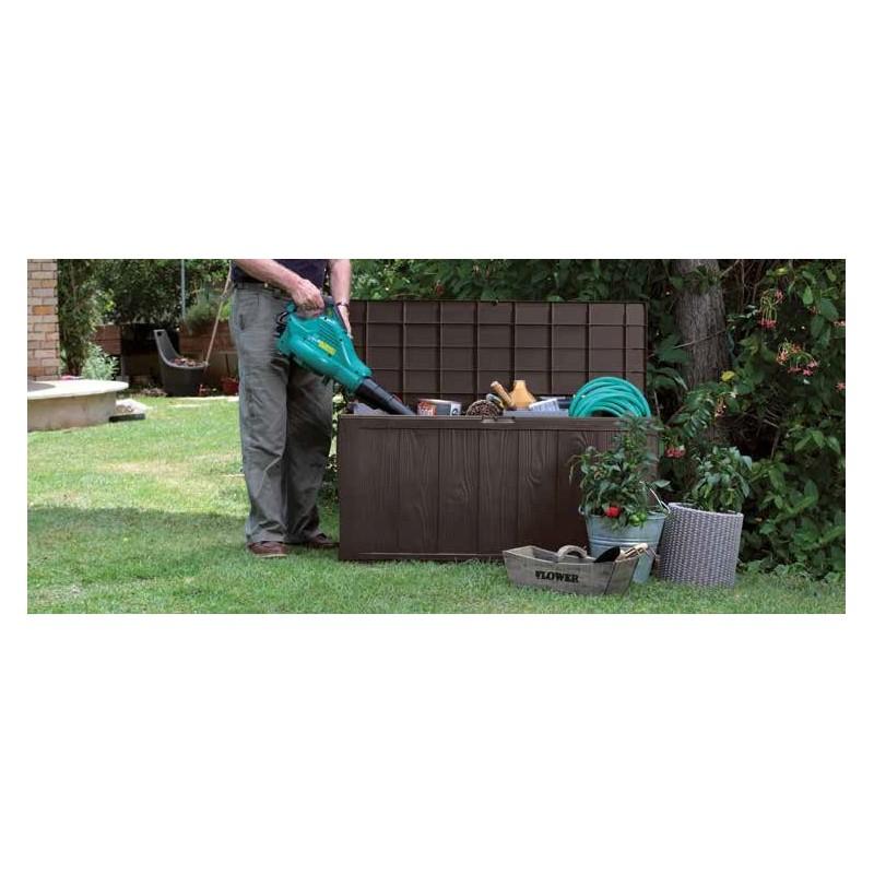 Ripostiglio Da Giardino In Plastica.Baule Da Giardino In Resina Effetto Naturale Marrone Con Ruote