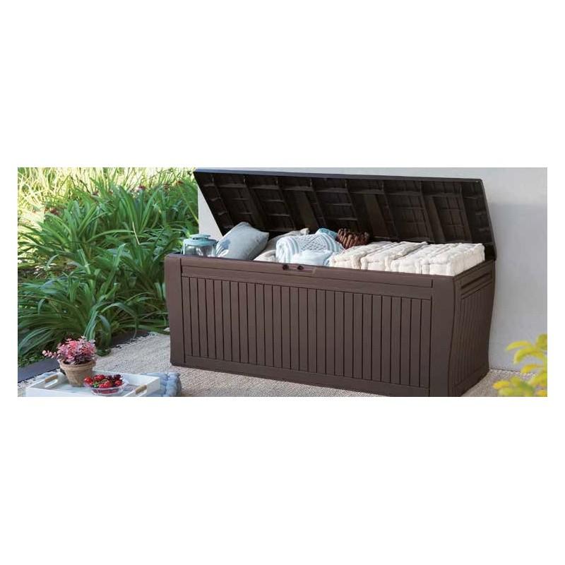 Bauli Plastica Da Esterno.Comfy Baule In Resina Marrone Da Giardino 117x45x57 Cm Brico Casa