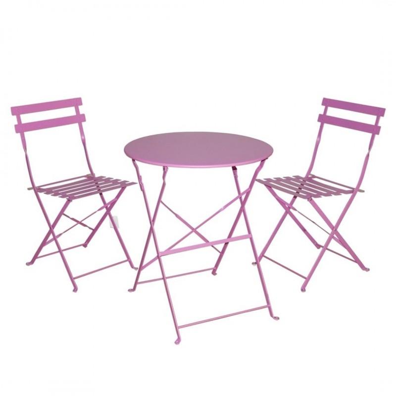 Set da giardino tavolo balcone 2 sedie pieghevoli rosa for Tavolo e sedie da balcone