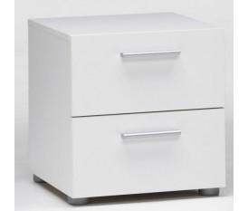 Comodino moderno 40x40 cm bianco due cassetti