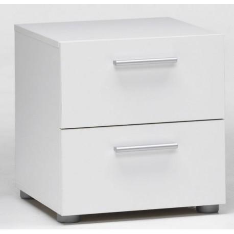 Comodino Moderno Bianco.Comodino Moderno 40x40 Cm Bianco Due Cassetti Brico Casa