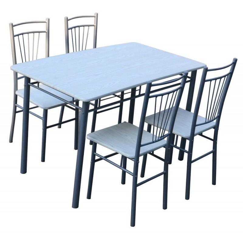 Tavolo in acciaio 120x70 con 4 sedie bianco e beige Brico Casa