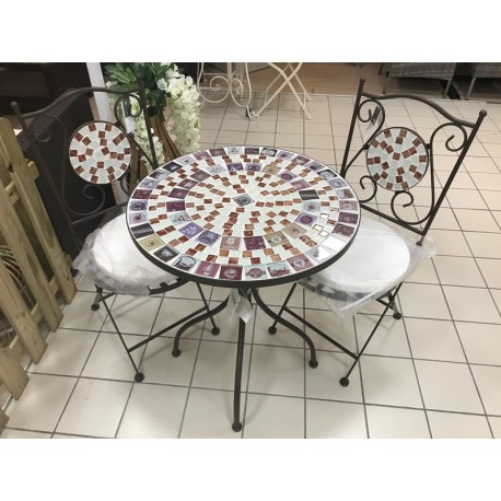 Tavolo Tondo Ferro.Doha Tavolo In Ferro Tondo Con Mosaici Coffee Stile Bristot Con 2 Sedie Brico Casa