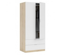 Armadio da camera bianco legno naturale 2 ante cassetti 80X52X180H CM ROVERE/BIANCO