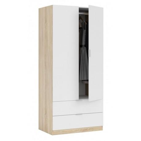 Armadio da camera bianco legno naturale 2 ante cassetti 80X52X180H CM  ROVERE/BIANCO - Brico Casa