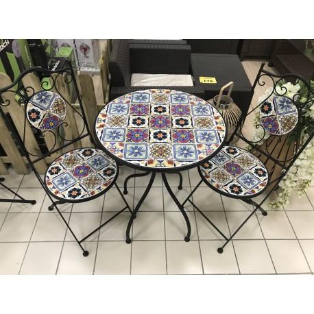Positano Tavolo In Ferro Con Mosaico Tondo 60 Cm Con 2 Sedie Brico Casa
