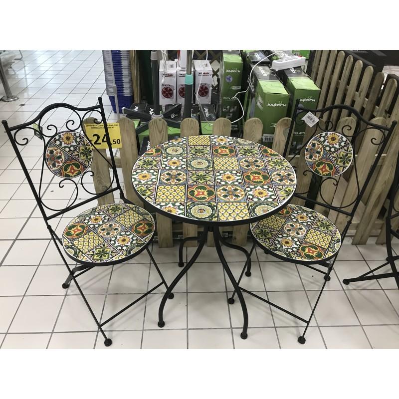 Tavoli E Sedie Da Giardino Brico.Amalfi Tavolo Mosaico Tondo 60 Cm 2 Sedie Brico Casa